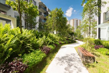 Modern residential buildings with outdoor facilities,