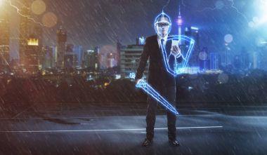 Businessman turned into thunder warrior