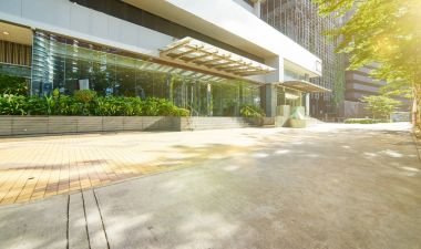 Entrance of modern office building