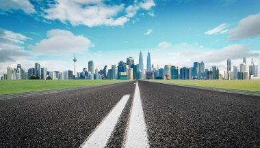Modern asphalt road through modern city skyline stock vector