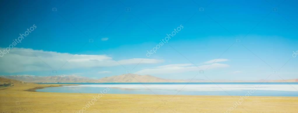 Beautiful blue lake in Tibet