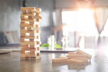 wood building blocks tower