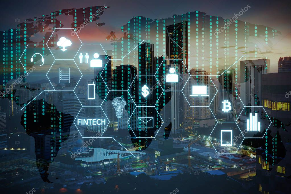 Fintech icon and internet of things