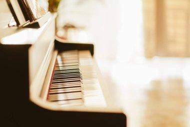Close up view of black piano keys , selected focus .