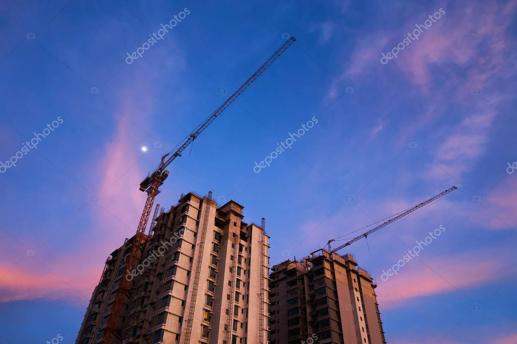 Construction of a unfinished high raised buildings residential area.