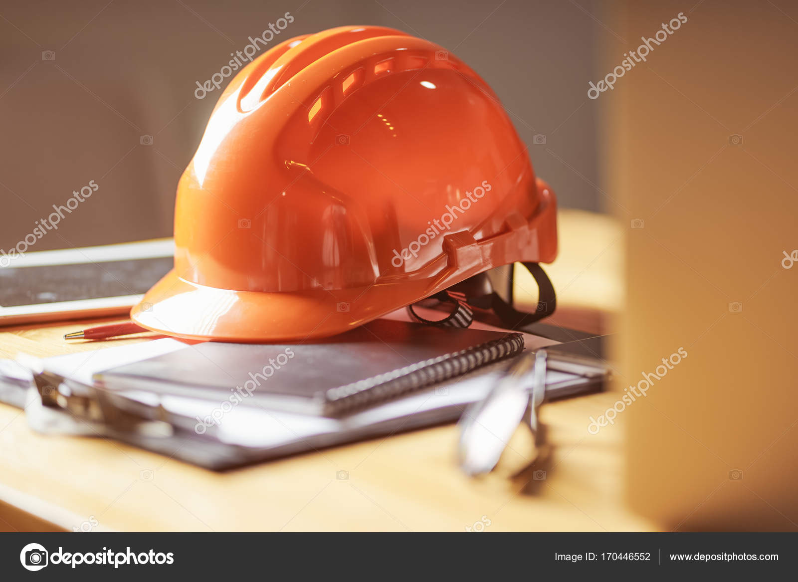 Laptop glasses note book phone blueprint orange safety helmet laptop glasses note book phone blueprint and orange safety helmet stacking on table at construction site for engineer foreman and worker selective malvernweather Gallery