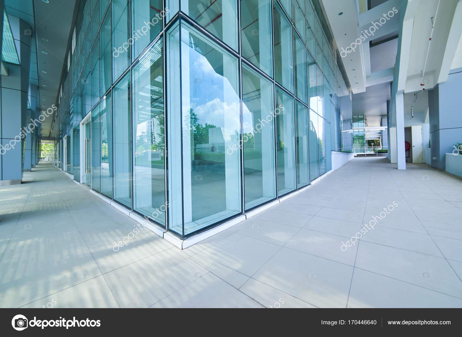 Modern Empty Office Building Glass Wall Empty Pavement — Stock Photo ...