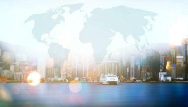 Hong Kong city skyline business center with global map visual concept background .
