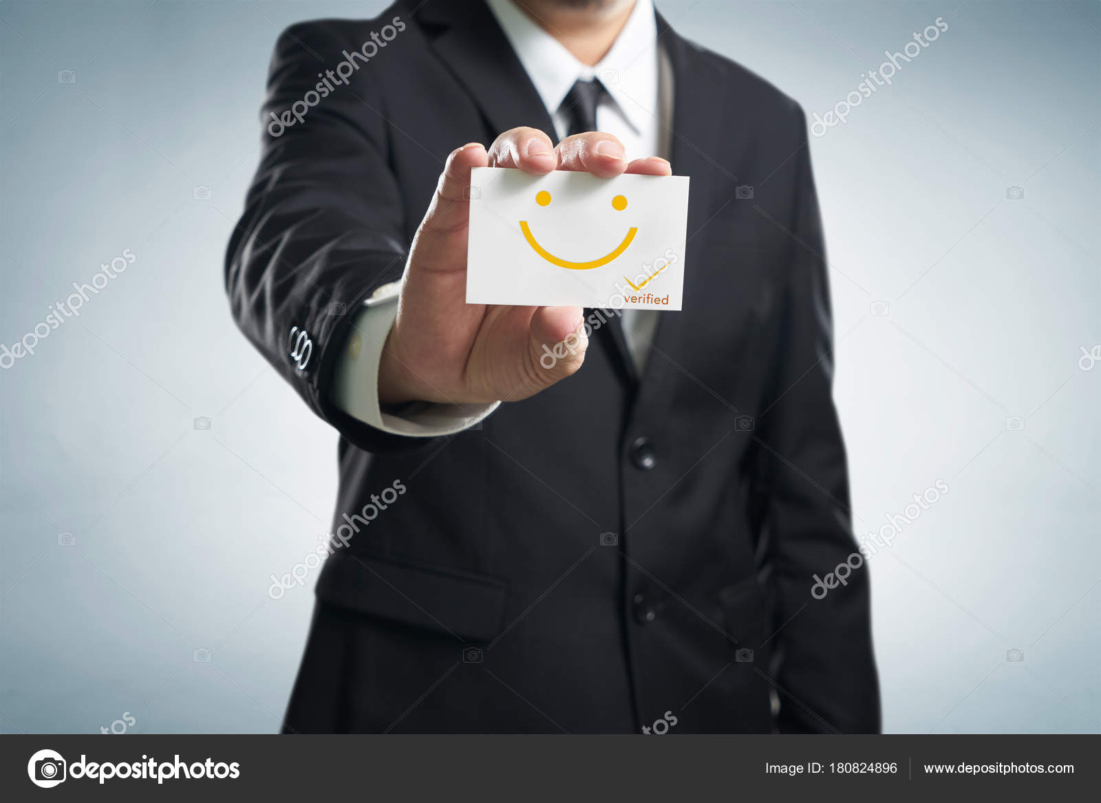 Businessman Hand Showing Business Card Smile Icon Concept Happy ...