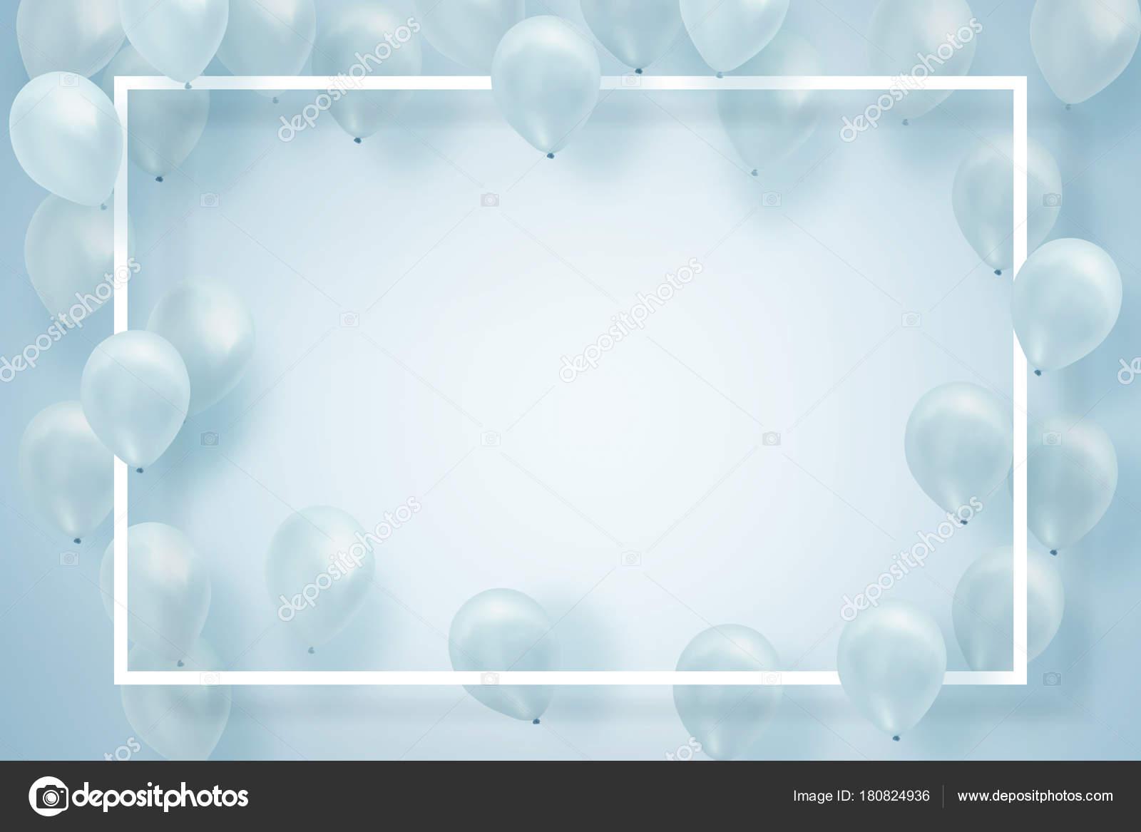 Silber Weiße Ballons Auf Weißem Hintergrund Mit Quadratischen Rahmen ...