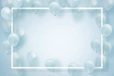 Silver white balloons on white background with square frame . creative paper card note layout concept .