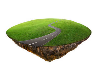 Fantasy island floating in air with green field and road isolated on white background