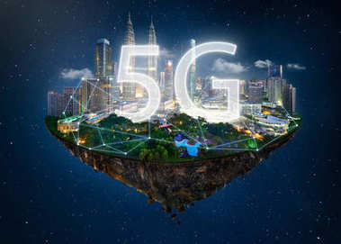 Fantasy island floating in the air with network light, communication 5G network concept on night sky background