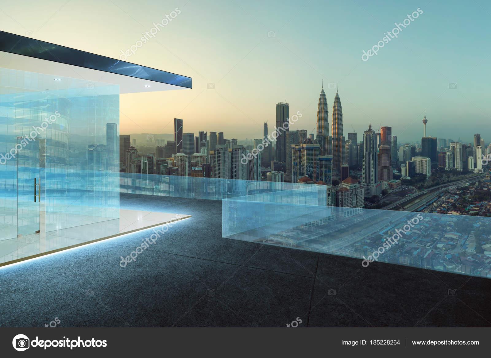 Parapetti vetro piastrelle piano tetti con priorità bassa