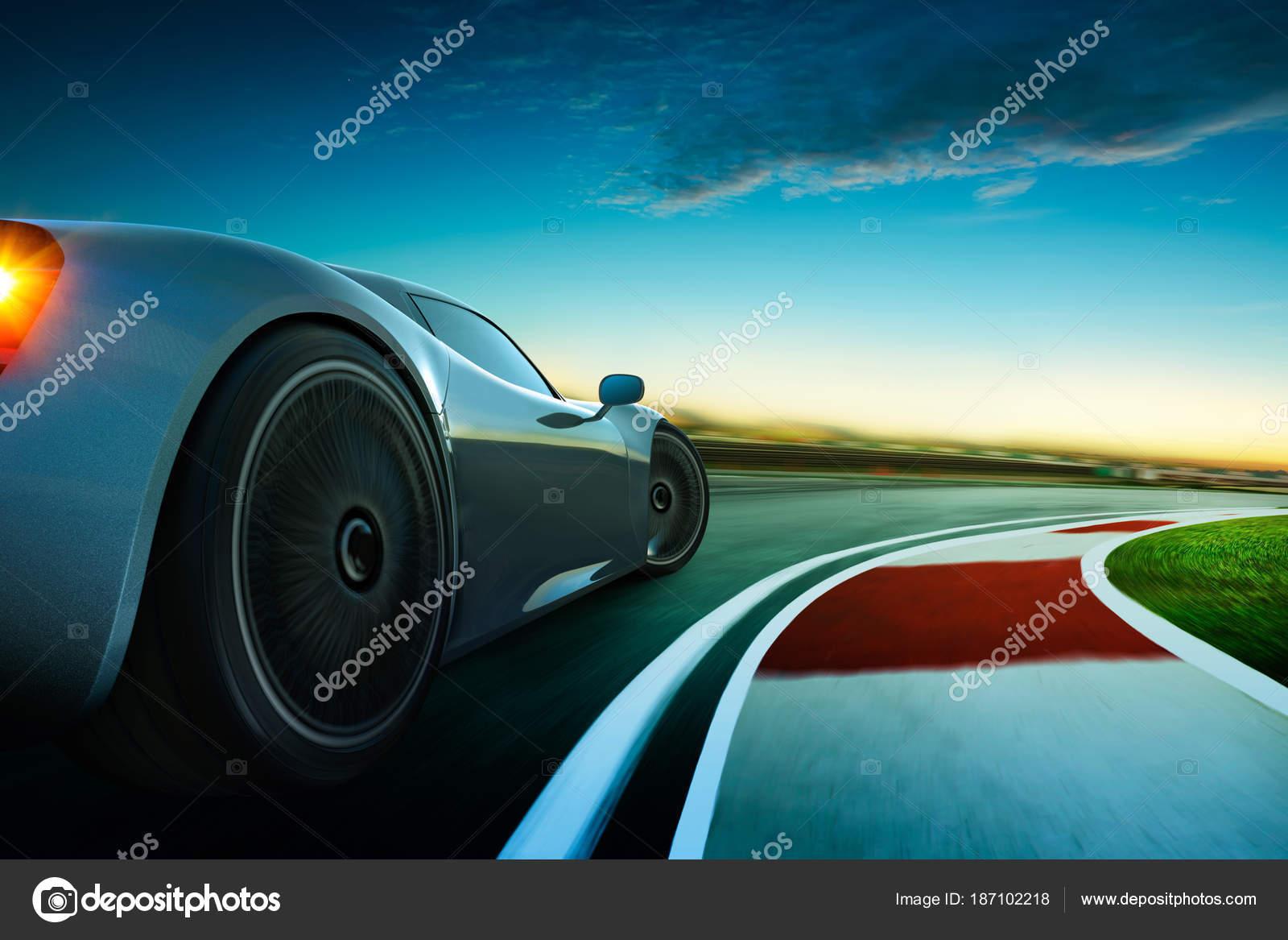 Weergave Van Een Merk Minder Grijs Sport Auto Met Motion Stockfoto