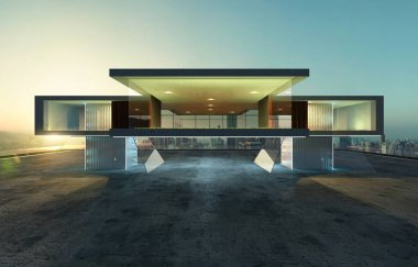 Perspective view of contemporary building exterior with steel,cement and glass facade loft style design . 3D rendering and real images mixed media .