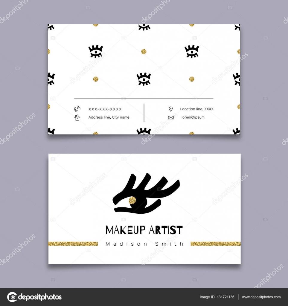makeup artist business card hipster minimal design graphics hand drawn stock vector