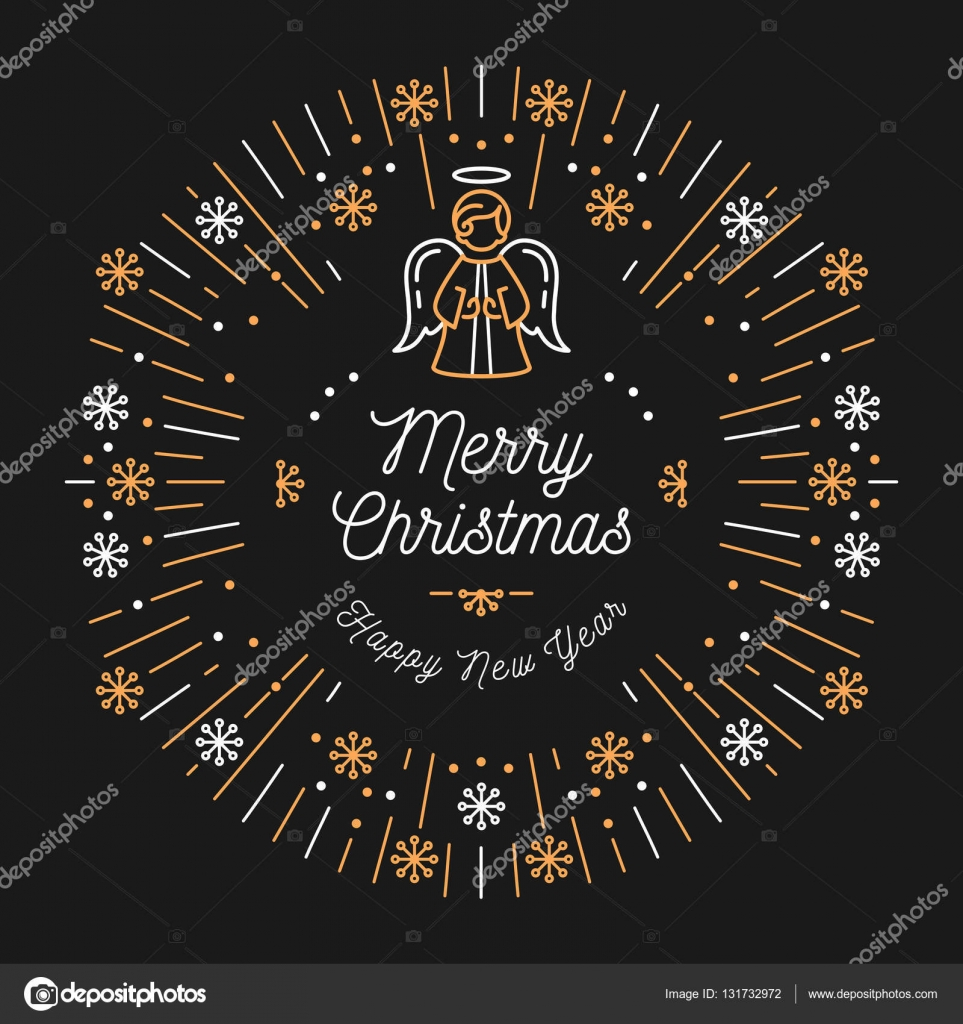 trendy christmas card happy new year minimal design art deco stock vector