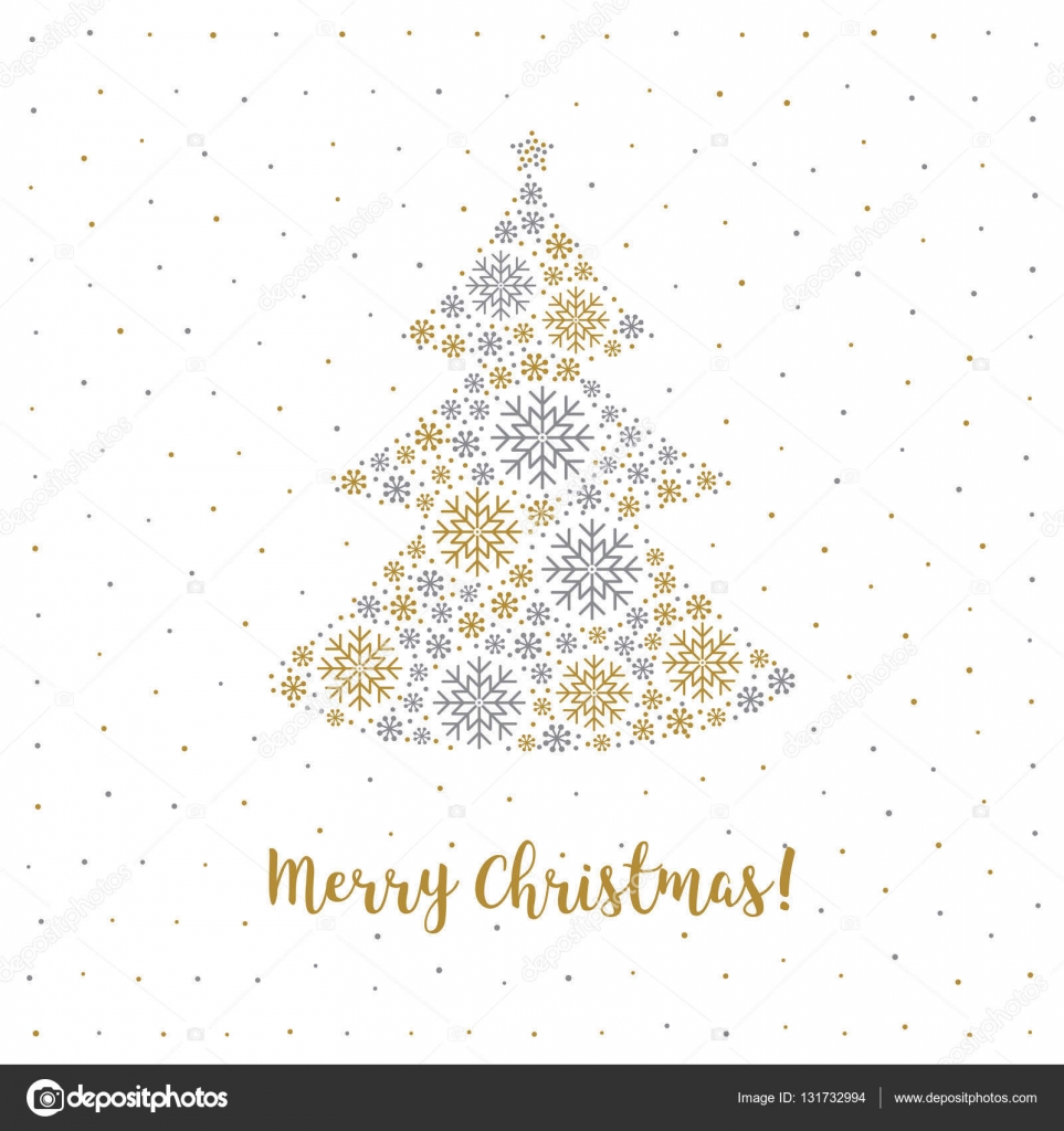 Merry Christmas card Minimalist style, Abstract Tree, Snowflakes ...
