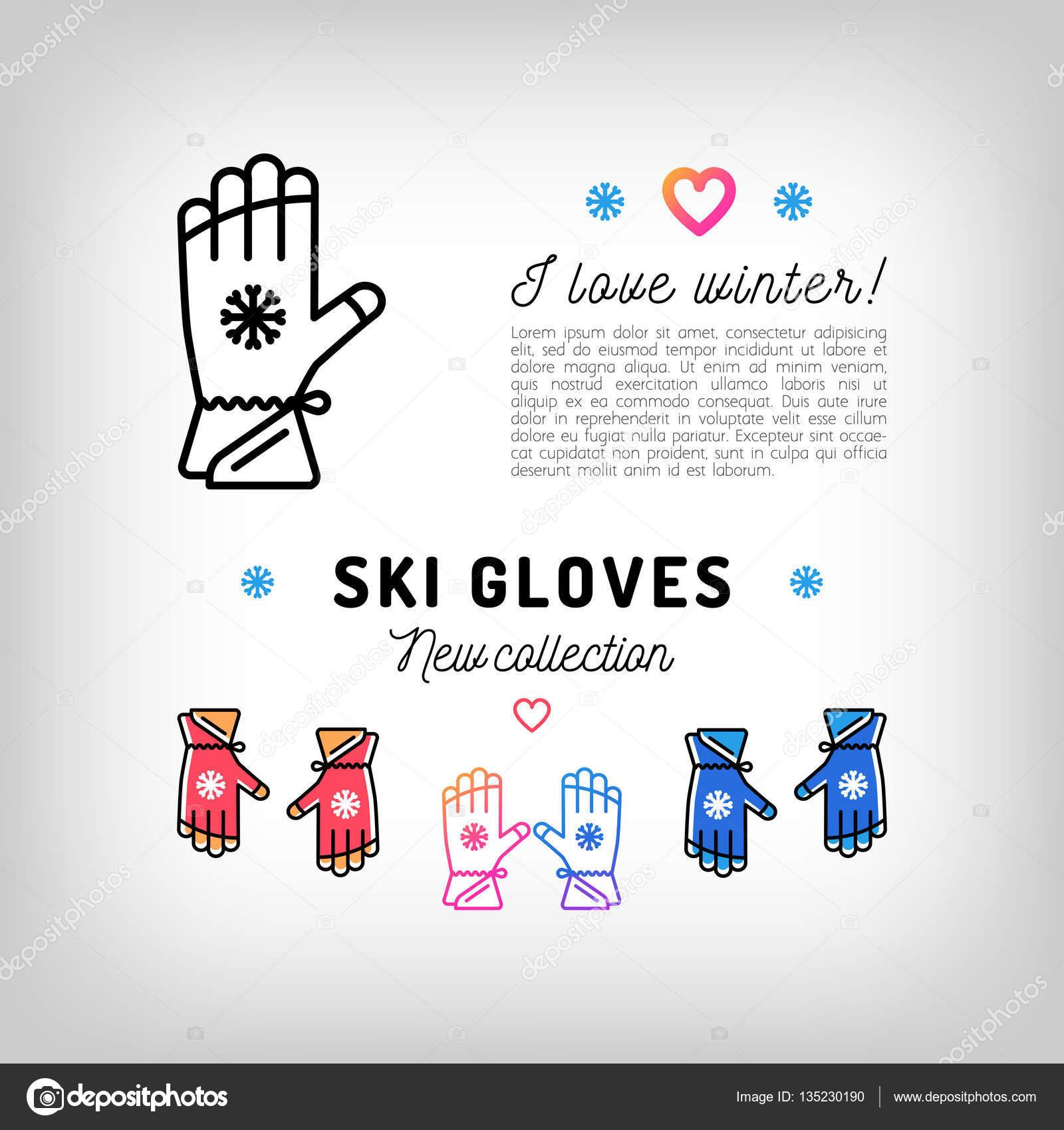 Iconos de delgada línea de guantes de esquí, deportes de invierno ...