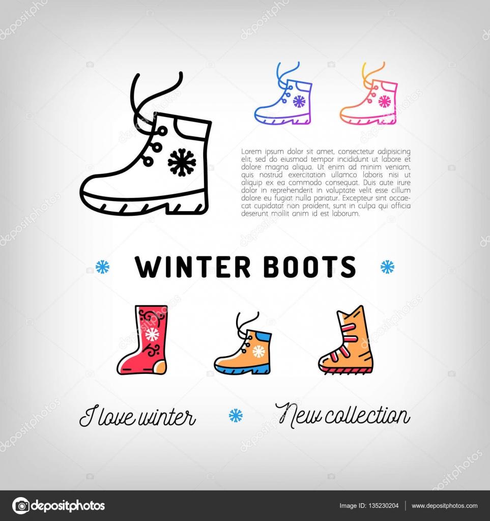 Ikony tenká linie zimní boty 469b16cd86