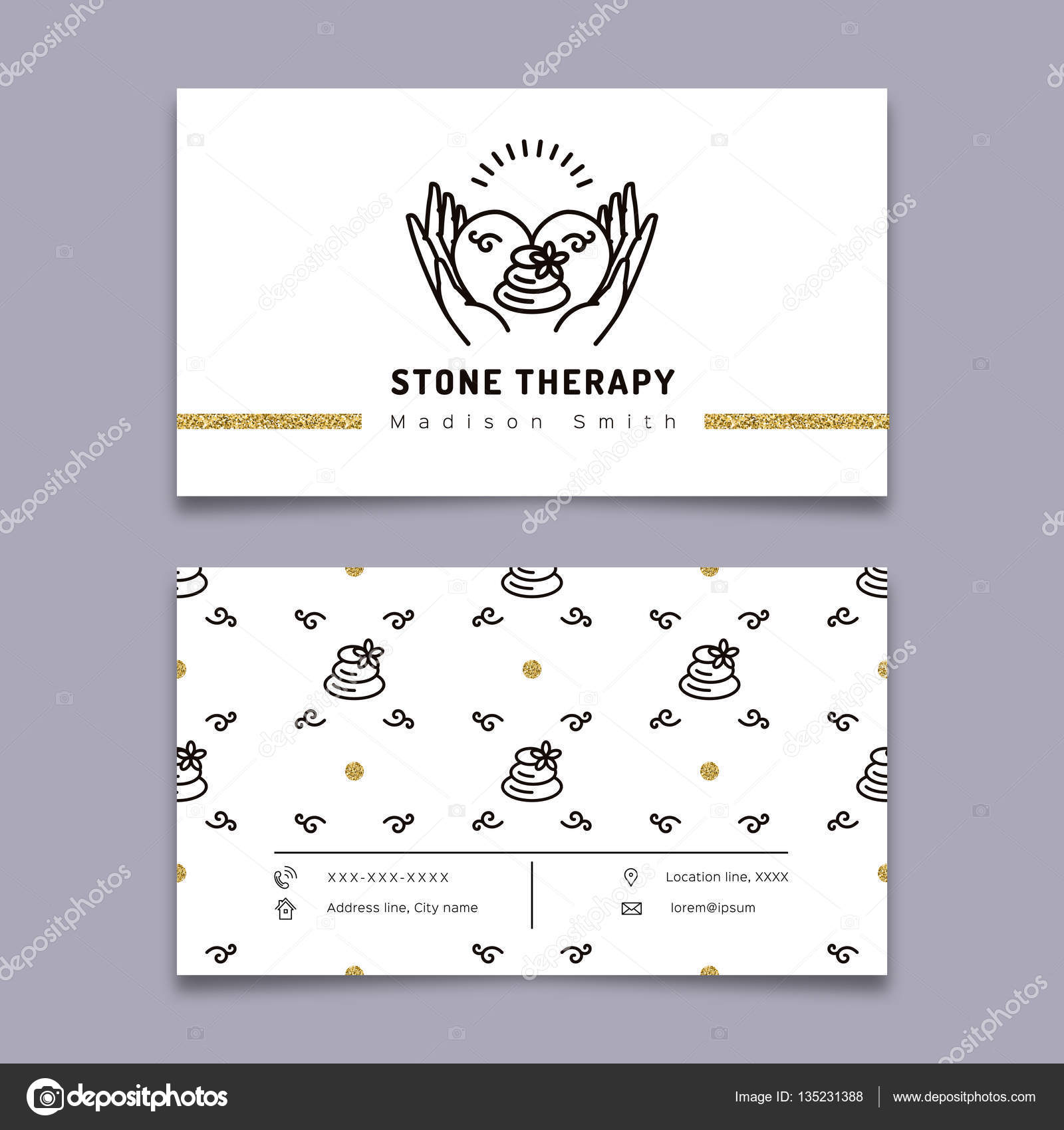 Stone therapy business card. Massage, beauty spa, relax, natural ...