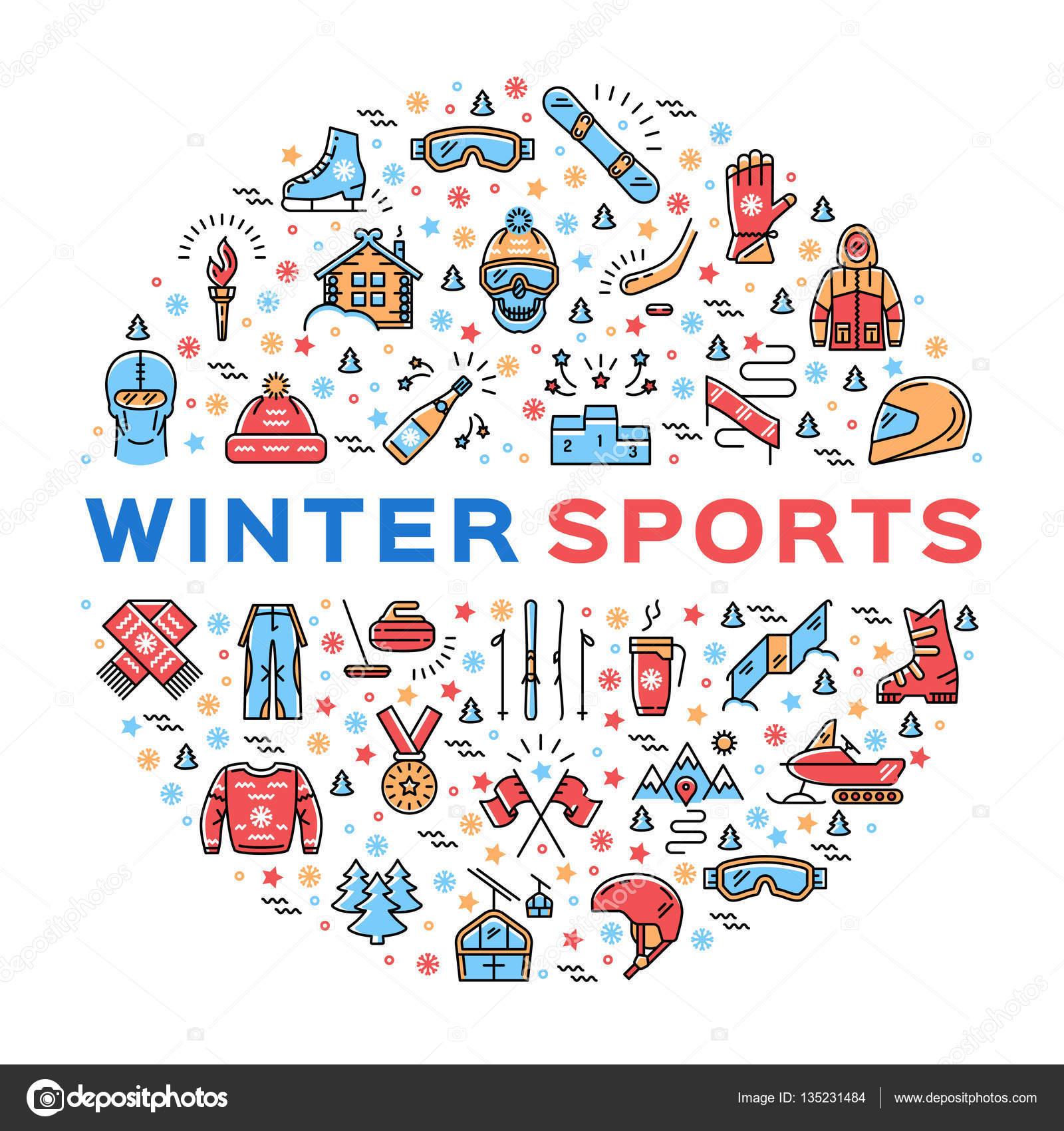 59a03c64a Conjunto de ícones coloridos linha fina de desportos de inverno ...