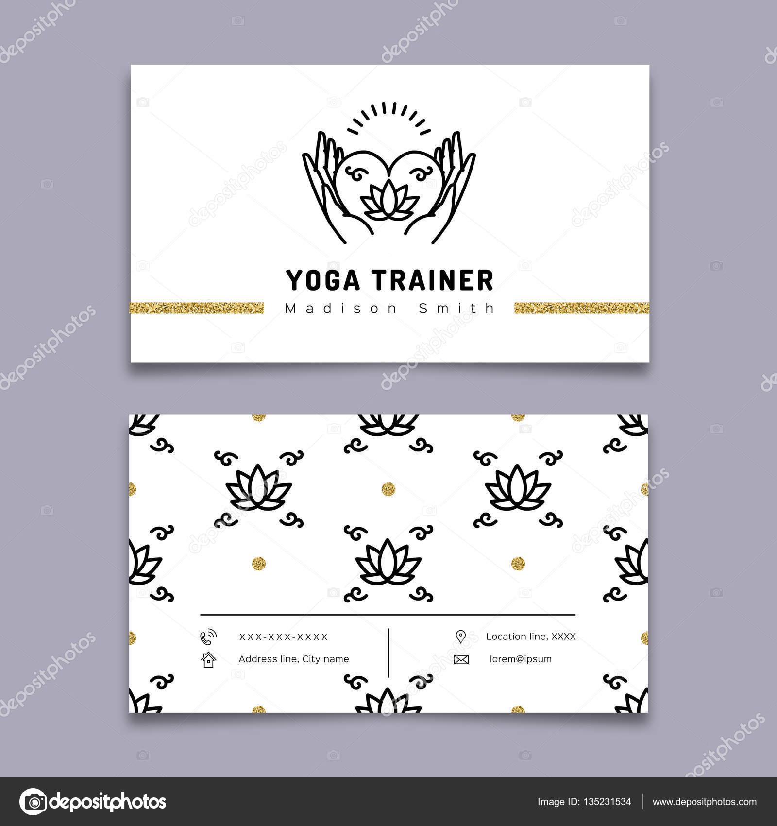 Vektor-Yoga Trainer Visitenkarte Vorlage, Meditation-Symbol, Lotus ...