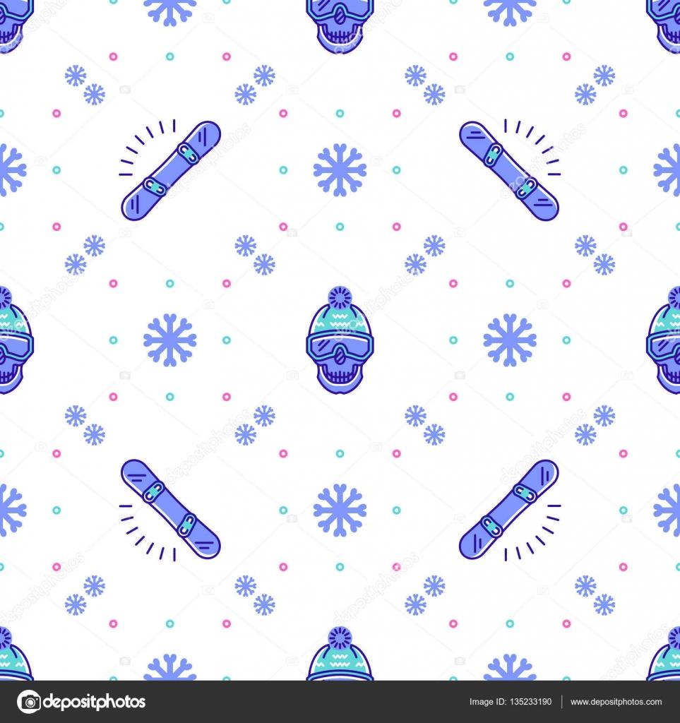 スノーボード パターン、冬スポーツのシームレスなデザイン。トレンディ