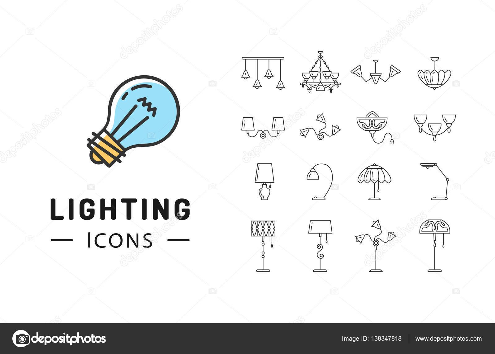icon lighting. Contemporary Lighting Lamp Icon Set Lighting Store Flat Design Brand Identity Graphics U2014 Stock  Vector For Icon
