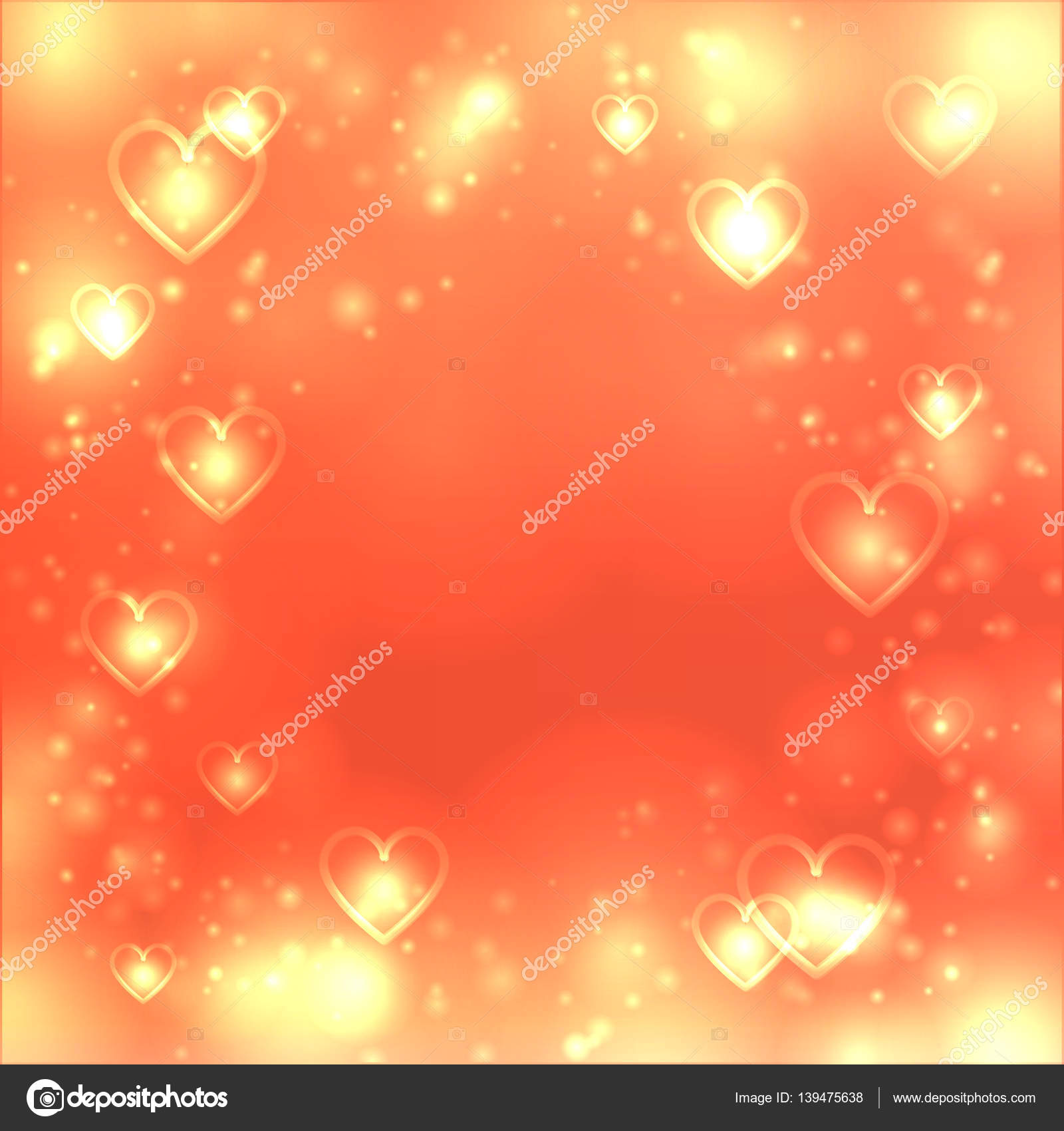 Valentines Day Heart Background Love Gold Backdrop Space For Text