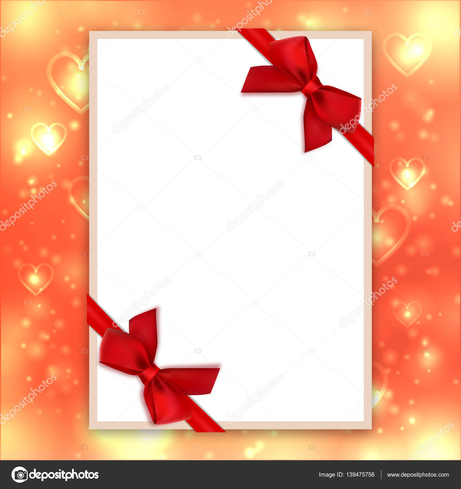 Blank greeting card red bows ribbons valentine background love blank greeting card red bows ribbons valentine background love backdrop stock vector m4hsunfo