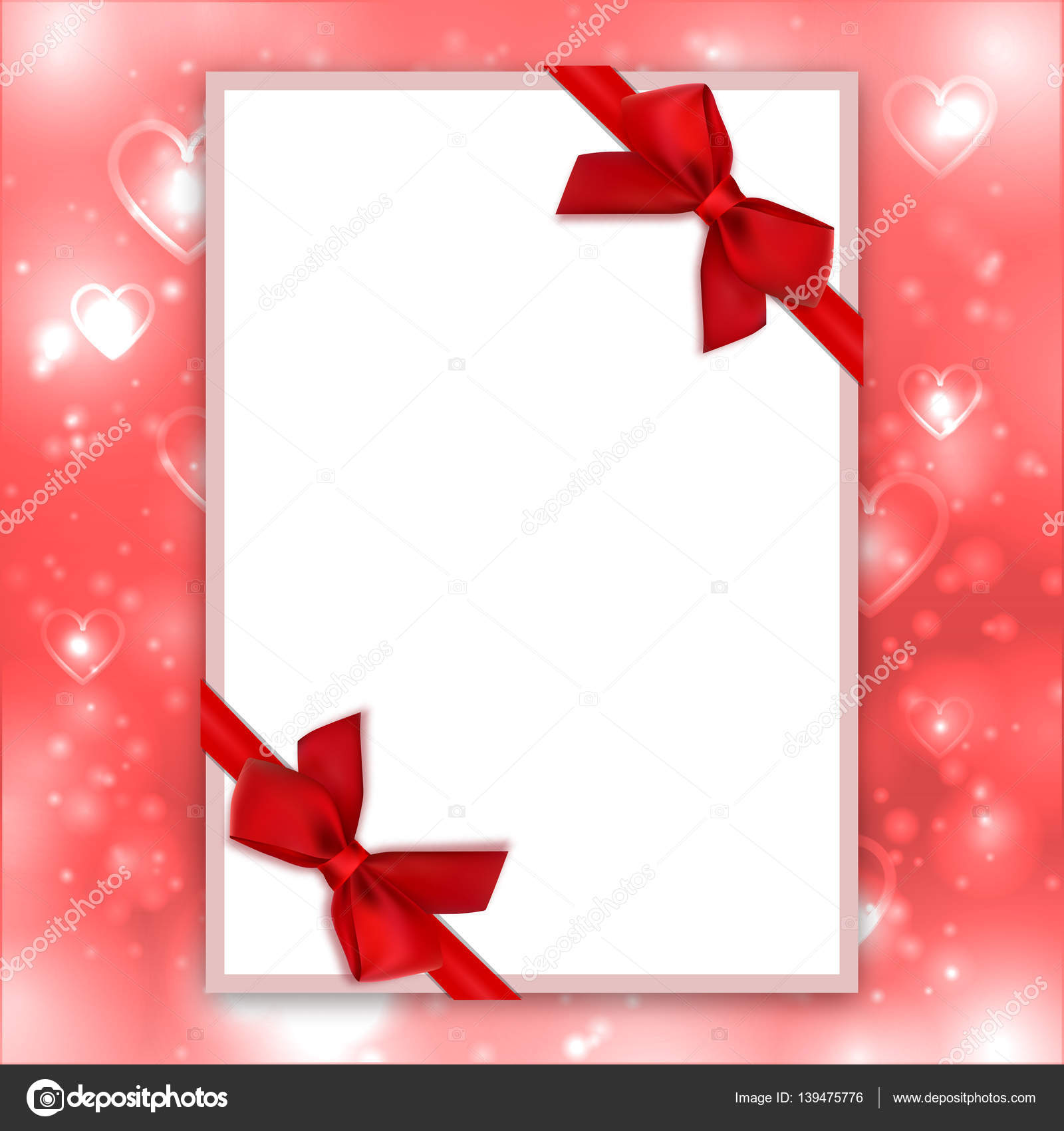 Blank greeting card red bows ribbons love backdrop valentine blank greeting card red bows ribbons love backdrop valentine background stock vector m4hsunfo