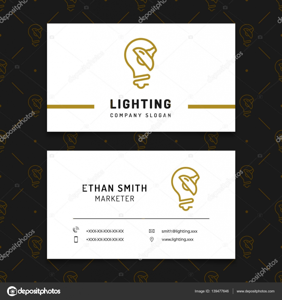 Lighting business card template lamp shop layout electricals lighting business card template lamp shop layout electricals factory stock vector reheart Images