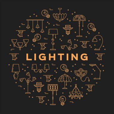 Lighting store circle infographics Lamp icon flat design card
