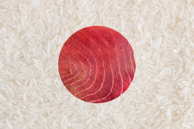 Flag of Japan made of food