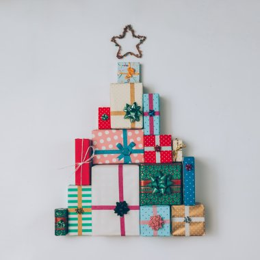 Christmas tree made of colorful presents and gifts.