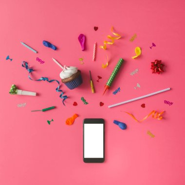 Smartphone with colorful party items