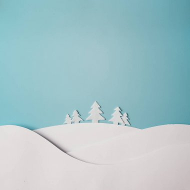 Christmas winter landscape with snow and trees