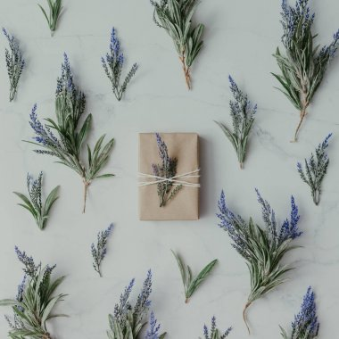 lavender branches with wrapped soap