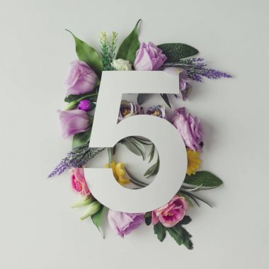 Creative layout with colorful flowers and leaves with number five stock vector