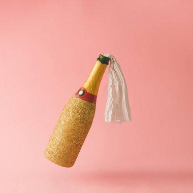 gold champagne bottle
