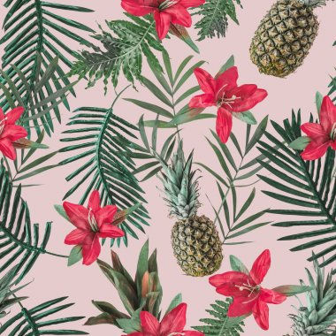 tropical pattern with flowers and pineapples