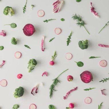 pattern made of broccoli, beetroot and radish