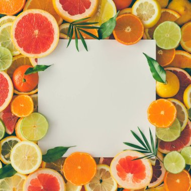 fruits with white paper card note