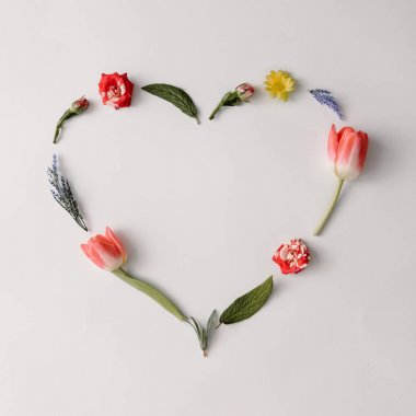 Heart shape made of spring flowers