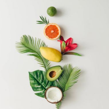 summer tropical fruits and leaves