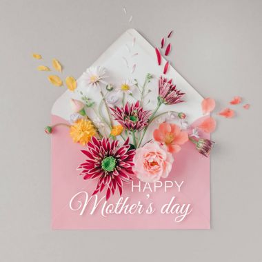 Pink envelope full of flowers