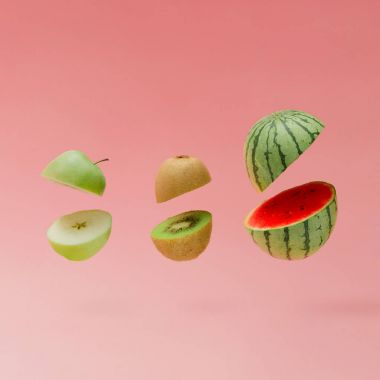 sliced Watermelon with apple and kiwi