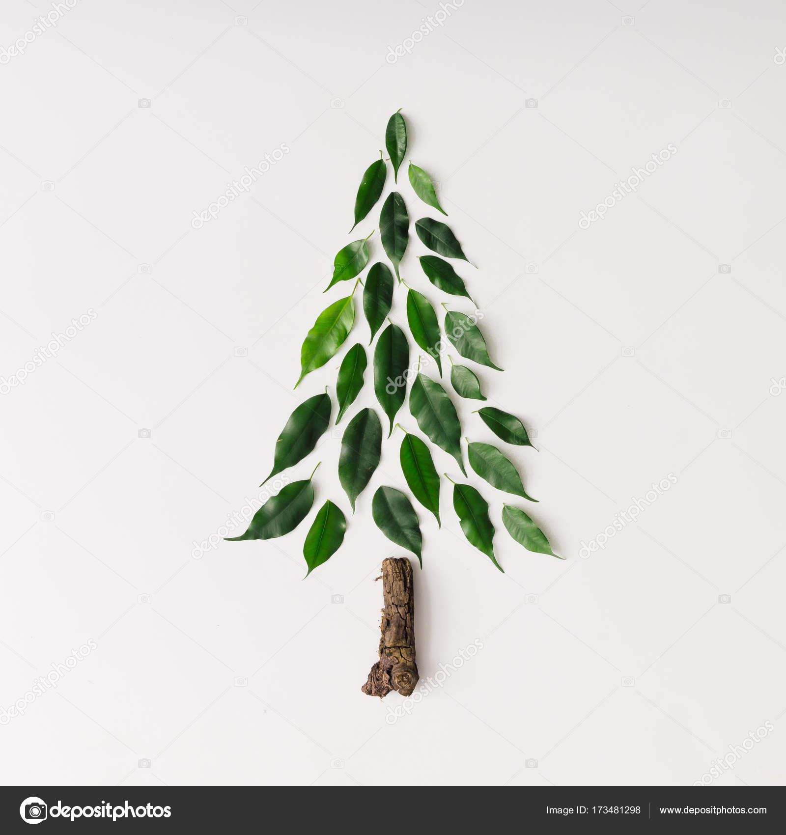Christmas Leaves.Christmas Tree Made Of Leaves And Branch Stock Photo